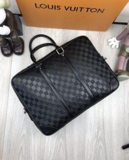 b69c595a5d25 Мужские портфели Луи Виттон черные кожаные с фирменным логотипом