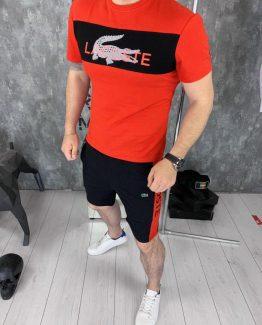 Мужской костюм футболка и шорты Lacoste красный фото