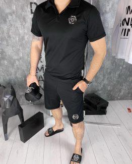 Мужской костюм футболка и шорты Philipp Plein черный фото