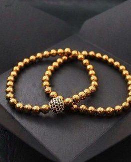 Комплект из двух браслетов Shamballa DOUBLE CELESTIAL || golden hematite фото