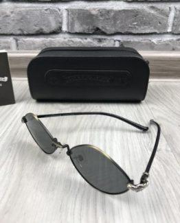 Мужские брендовые солнцезащитные очки Chrome Hearts черные фото