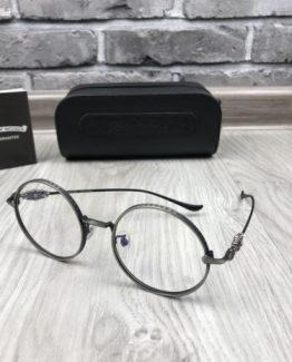 Мужские круглые очки Chrome Hearts темно-серебряная оправа фото