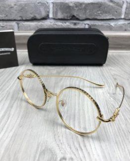 Круглые очки Chrome Hearts с золотой оправой фото