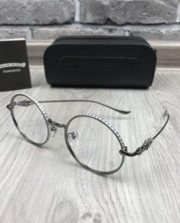 Круглые очки Chrome Hearts серебряная оправа фото