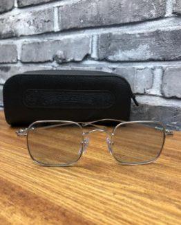 Квадратные очки Chrome Hearts серебряная оправа фото