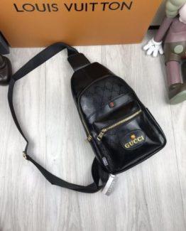 Мужская брендовая сумка на пояс Gucci черная фото