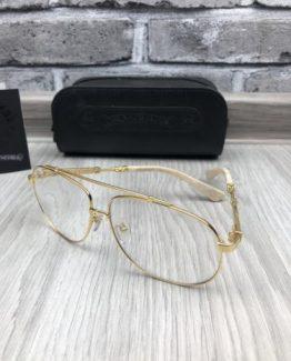 Мужские брендовые очки авиаторы Chrome Hearts золотистая оправа фото