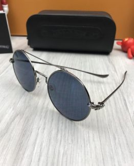 Круглые очки Chrome Hearts темно-синие фото