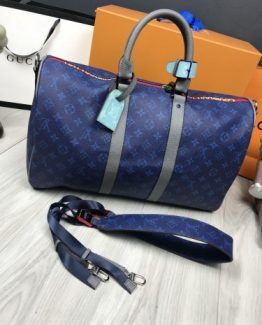 Мужская спортивная сумка Louis Vuitton кожа синяя фото