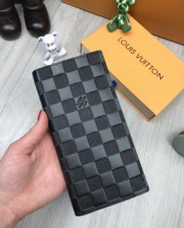 Мужское портмоне Louis Vuitton кожаное черное фото