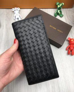 Мужское портмоне Bottega Veneta кожа черное фото