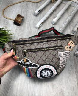 Мужская брендовая сумка на пояс Gucci с рисунком 000.4098 фото