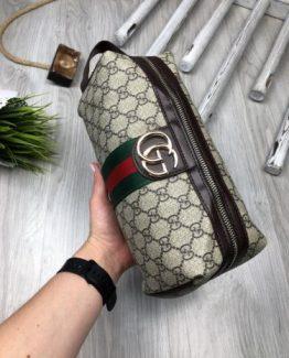 Мужская барсетка Gucci коричневая 000.4171 фото