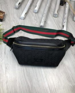 Мужская брендовая сумка на пояс Gucci черная 000.4116 фото