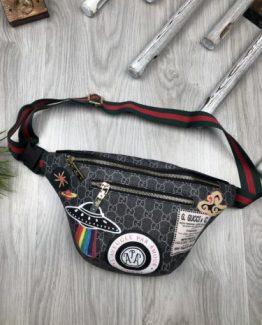 Мужская брендовая сумка на пояс Gucci серая 000.4095 фото