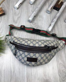 Мужская брендовая сумка на пояс Gucci синяя 000.4113 фото