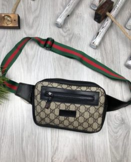 Мужская брендовая сумка на пояс Gucci коричневая 000.4092 фото