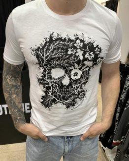 Мужская футболка ALEXANDER MCQUEEN БЕЛАЯ ПРИНТ ЧЕРЕП 000.5095 фото