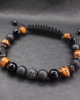 Мужские браслеты из натуральных камней INFINITY black & yellow 000.5181 фото